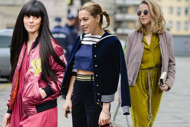 Najmodniejsze kurtki na wiosnę 2016. Street fashion z pokazów jesień-zima 2016, po prawej Jessica Mercedes