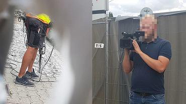 Robotnik z młotem pneumatycznym zagłusza pikietę przed fabryką Amiki (z lewej), a wynajęty operator filmuje jej uczestników.