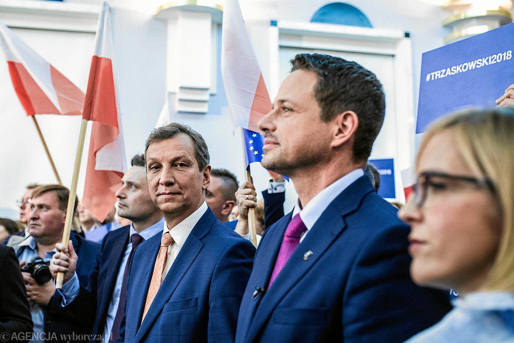 Andrzej Halicki i Rafał Trzaskowski na konwencji Platformy Obywatelskiej w październiku 2018 r.