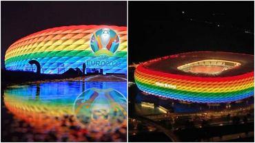 Allianz Arena w Monachium podświetlona podczas Euro 2020