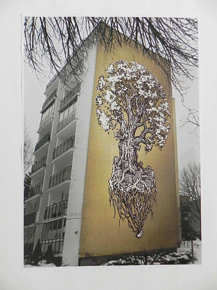 Zwycięski projekt: 'Rezerwat' Mikołaja Olizara Zakrzewskiego (wizualizacja). Autor zaproponował umieszczenie skrzynek lęgowych w koronie drzewa.
