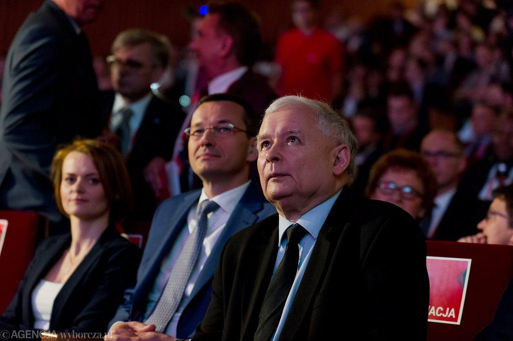 Prezes partii rządzącej Jarosław Kaczyński i wicepremier, minister rozwoju w rządzie PiS Mateusz Morawiecki. 'Kongres Impact'16: 4.0 Economy', Kraków, 15 czerwca 2017