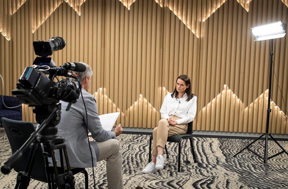 1.09.2020, Wilno, Litwa, Swiatłana Cichanouska podczas wywiadu dla agencji Associated Press.