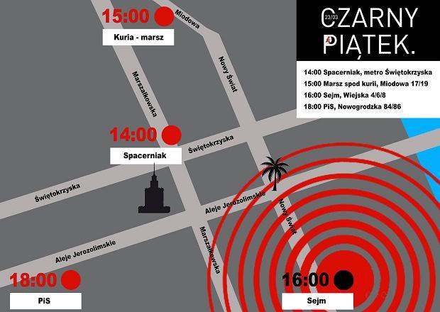 Czarny piątek w Warszawie wydarzenia