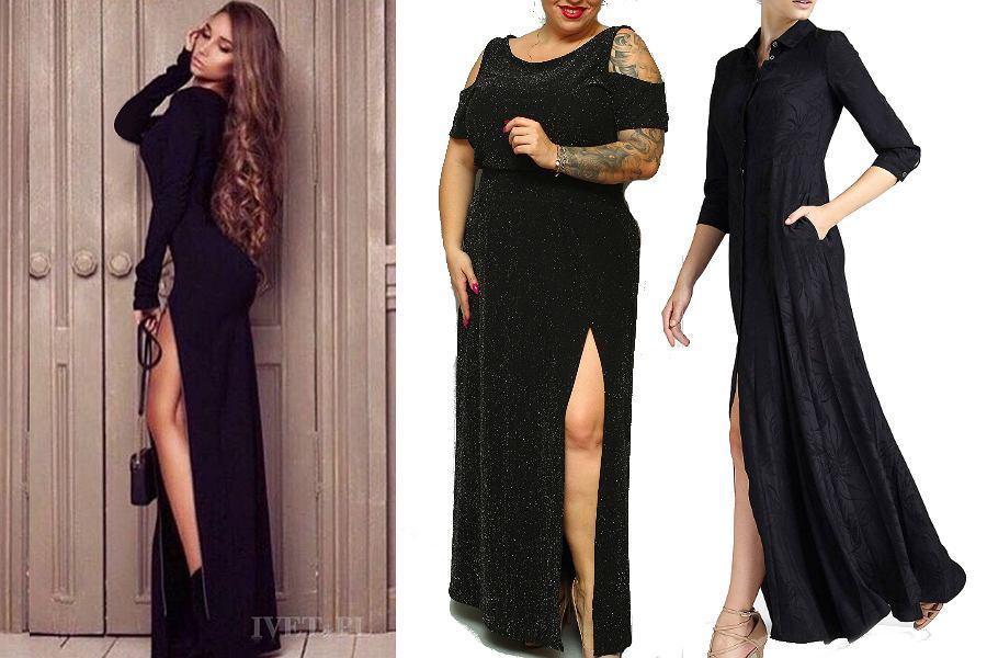 długie czarne sukienki z rozcięciem
