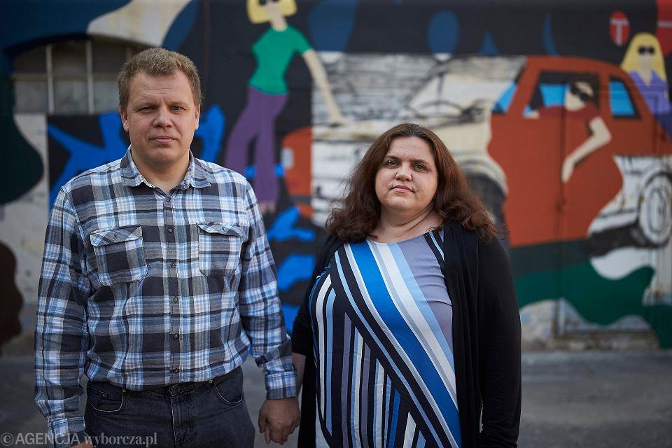 Vladimir Shakhov i Alena Maisevich, liderzy ruchu Białorusini w Łodzi, który powstał po wyborach prezydenckich na Białorusi