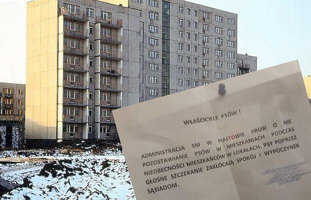Ogłoszenie administracji bloku w Piastowie