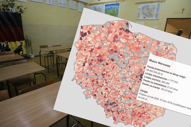 """Stworzyli mapę obrazującą koszt lekcji religii w szkołach. """"Gminy wydają poważne sumy"""""""