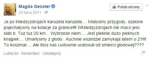 Wpis z Facebooka Magdy Gessler