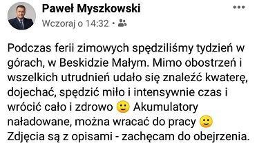 Printscreen wpisu radnego Pawła Myszkowskiego