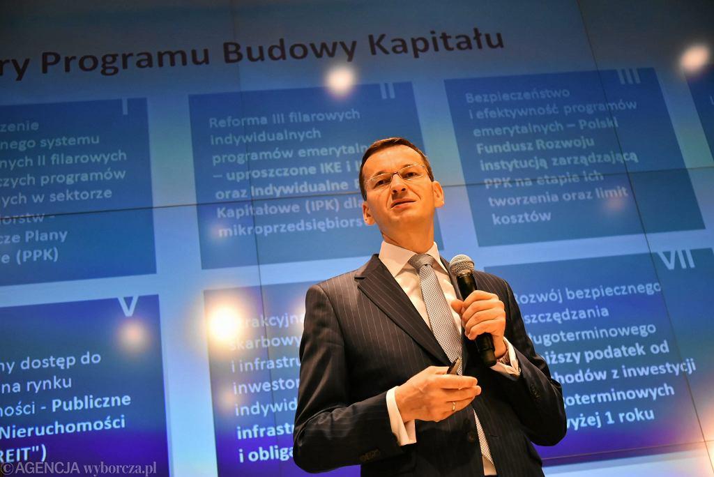 Wicepremier, minister rozwoju Mateusz Morawiecki podczas konferencji nt. OFE.