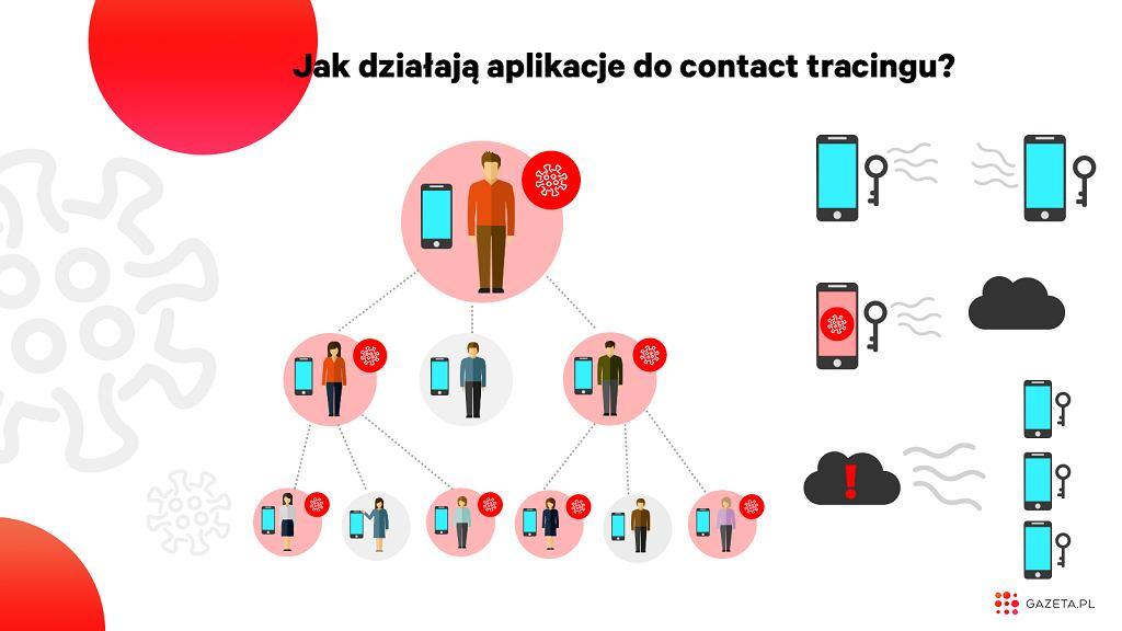 Jak działa Contact tracing - infografika