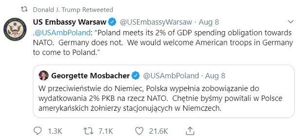 Donald Trump podał dalej wpis Georgette Mosbacher nt. wojsk amerykańskich w Polsce