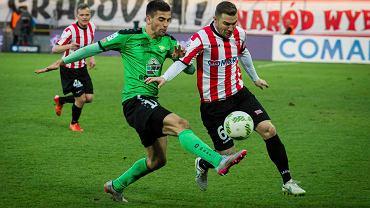 Cracovia - Górnik Łęczna 0:0.  Bartosz Spiaczka (L) , Erik Jendrisek (P)