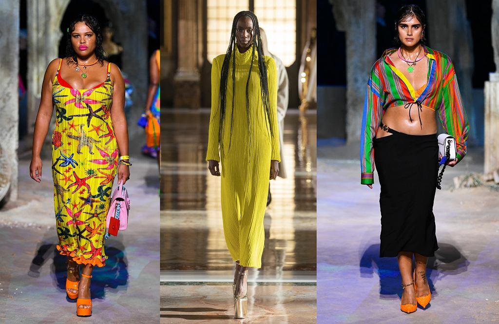Modelki na pokazach Versace (po lewej i po prawej) oraz Valentino (w środku) - różnorodność jest w modzie