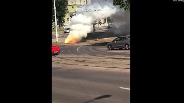 Wybuch i pożar niedaleko ambasady RP w Mińsku