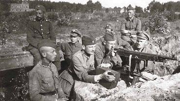 Stanowisko karabinu maszynowego Colt-Browning wz. 1895. Polska pozycja pod Miłosną, wieś Janki, sierpień 1920 r.