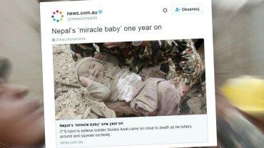 Dziecko cudem przeżyło trzęsienie ziemi w Nepalu