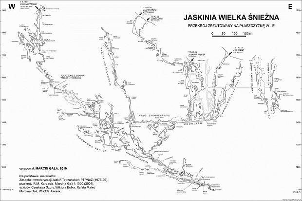 Przekrój Jaskini Wielkiej Śnieżnej (fot. Marcin Gala / Państwowy Instytut Geologiczny - Państwowy Instytut Badawczy)