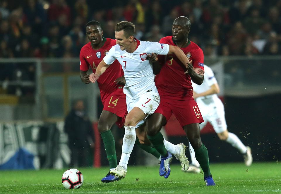20.11.2018, Guimaraes, mecz Portugalia-Polska, Arkadiusz Milik, Danilo i William Carvalho