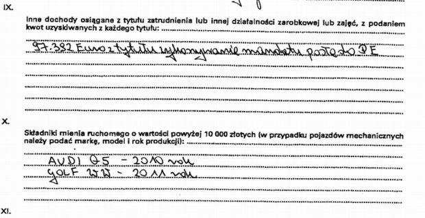 Oświadczenie majątkowe Janusza Zemke