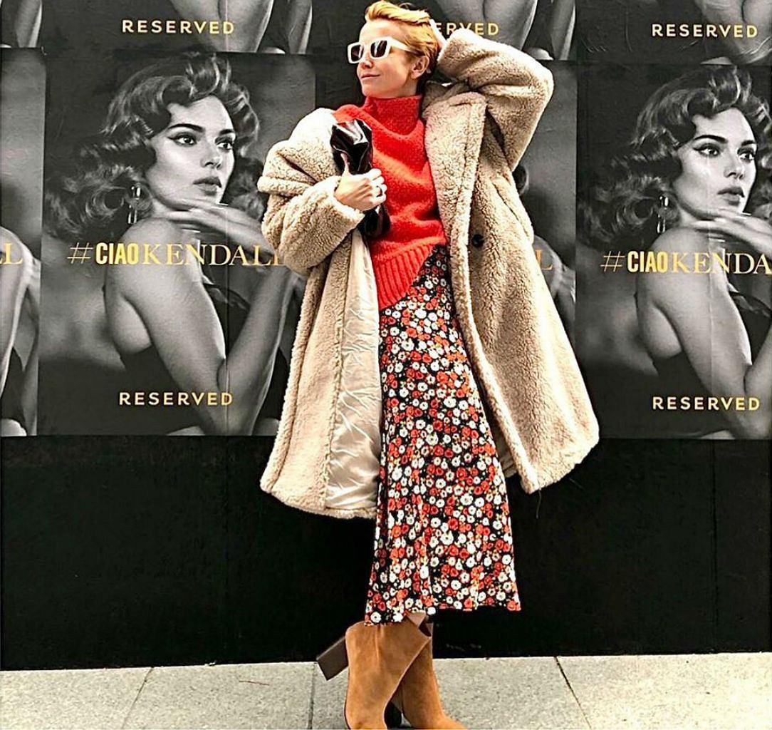 Katarzyna Zielińska w modnym teddy coat
