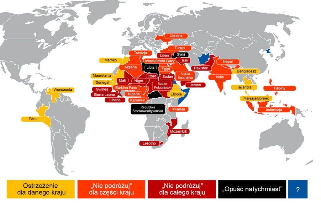 Mapa ostrzeżeń MSZ