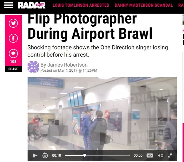 Starcie Louisa Tomlinsona z paparazzo na lotnisku