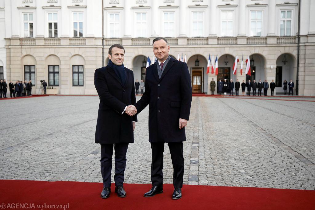 Emmanuel Macron i Andrzej Duda w Warszawie