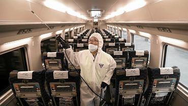 Koronawirus w Chinach. Służby dezynfekują pociąg.