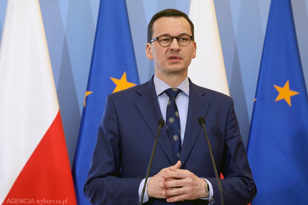 15.04.2019, Warszawa, premier Mateusz Morawiecki na konferencji prasowej zapowiadającej likwidację OFE.