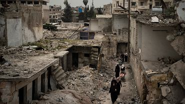 Zniszczenia bombardowaniami w Idlib
