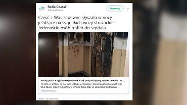 Podpalona winda w jednym z bloków w Gdańsku.