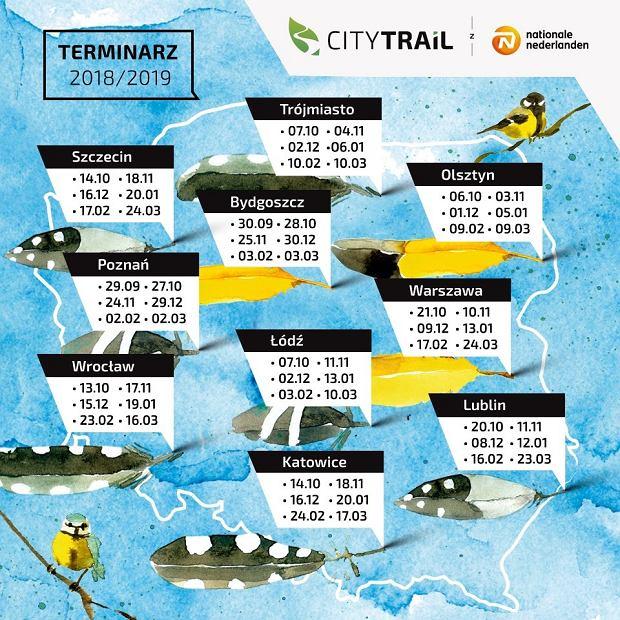 City Trail, Lokalizacje biegów na dystanie 5 km