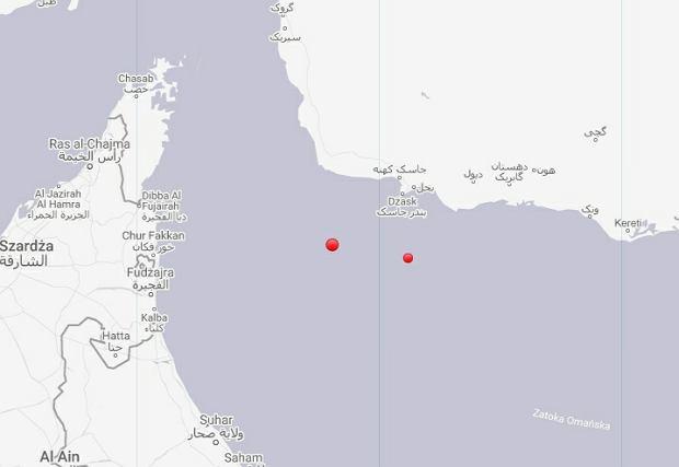 Zatoka Perska, lokalizacja tankowców, do których miało dojść do eksplozji
