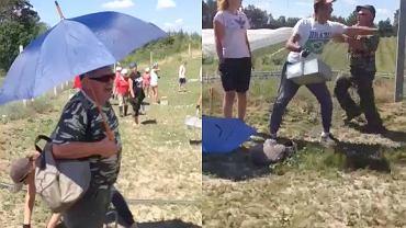 Incydent wśród szparagów sfilmowała ukraińska pracownica.