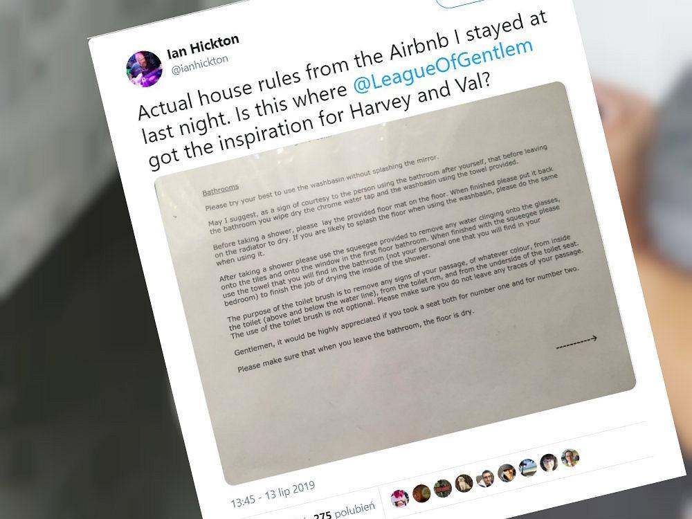 Mężczyzna natknął się na instrukcję korzystania z łazienki w lokalu z Airbnb