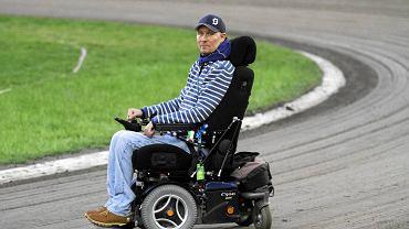 Per Jonsson na Speedway Best Pairs 2015. Od czasu wypadku na torze w Bydgoszczy Szwed porusza się na wózku inwalidzkim.