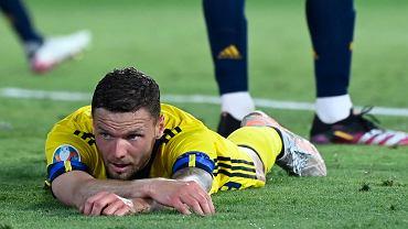 Marcus Berg podczas meczu Hiszpania - Szwecja na Euro 2020.