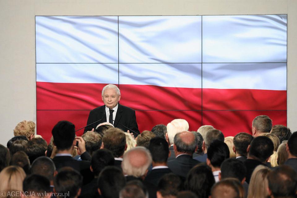 21.10.2018, Warszawa, Jarosław Kaczyński przemawia wieczorze wyborczym PiS.