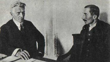Ignacy Daszyński (PPS), premier istniejącego od 7 do 11 listopada 1918 r. Tymczasowego Rządu Ludowego Republiki Polskiej, oraz Wincenty Witos, przywódca PSL 'Piast', przewodniczący Polskiej Komisji Likwidacyjnej Galicji i Śląska Cieszyńskiego, tymczasowego organu polskiej władzy w zaborze austriackim