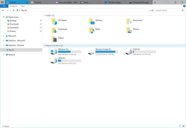 Eksplorator plików w Windows 10 z obsługą kart