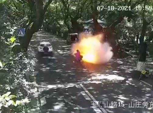 Wybuch skutera elektrycznego w Chinach