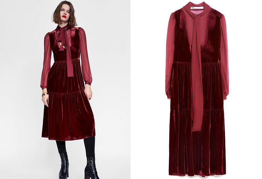 Aksamitny materiał i wiązanie pod szyją - to pomysł Zary na sukienkę w stylu Mary Poppins
