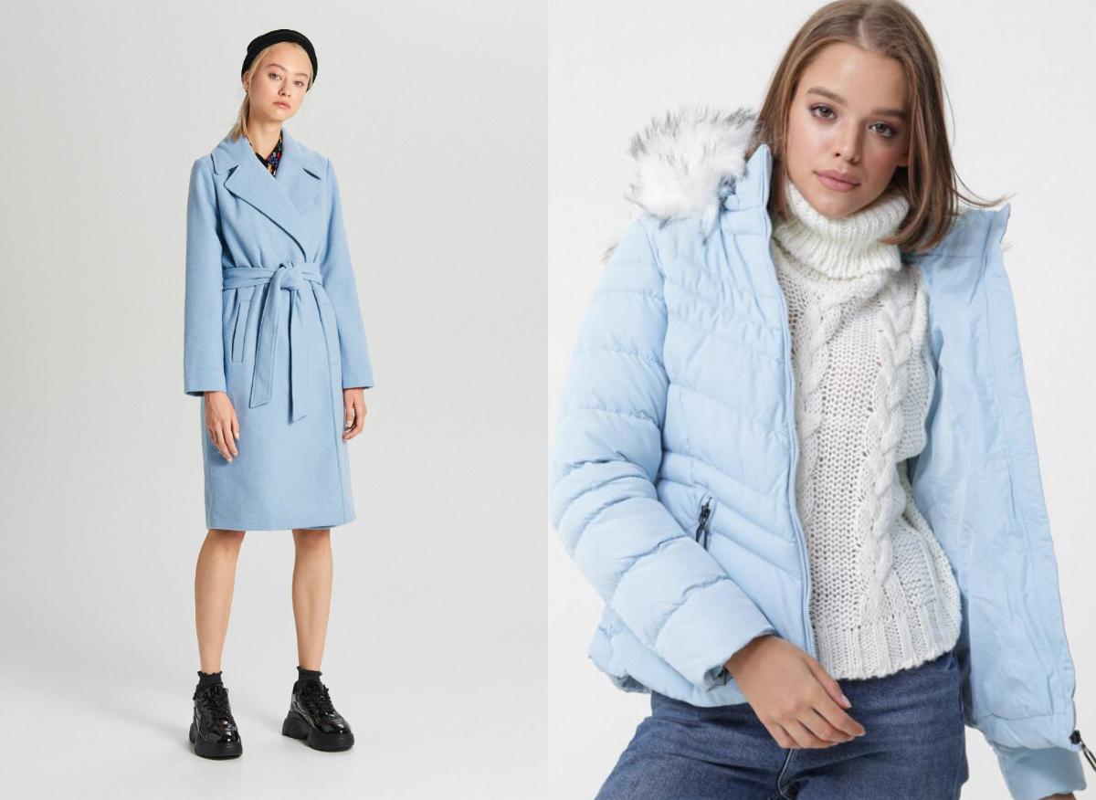 kurtki i płaszcze w kolorze baby blue