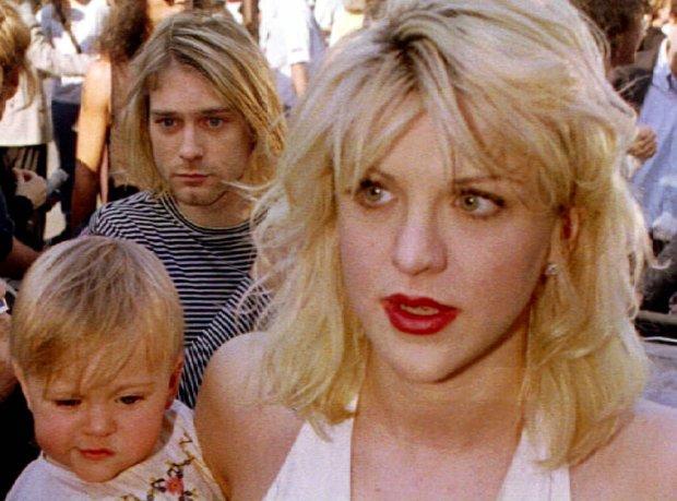 Kurt Cobain z żoną, Courtney Love i córką Frances, 1992