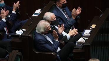 Ryszard Terlecki, Jarosław Kaczyński i Mariusz Błaszczak (PiS)