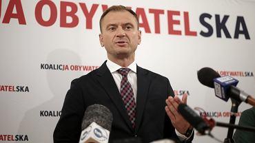 Sławomir Nitras podczas konferencji prasowej w siedzibie PO. Szczecin, 1 października 2019