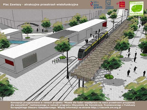 Widok z góry na torowisko tramwajowe, drogę dla rowerów wyznaczoną na placu (po prawej od torowiska), przestrzeń targową po prawej i pawilony wystawienniczo-wypoczynkowo-kawiarniane po lewej.