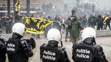 Zamieszki w Brukseli podczas demonstracji przeciwko ONZ-owskiemu paktowi na rzecz migracji. 16 grudnia 2018 r.